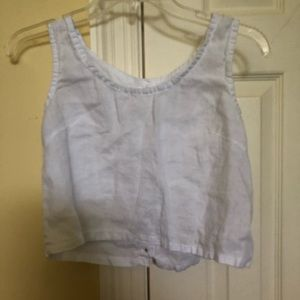 Tops - White linen crop top